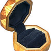 "Bp-Sw-Lw Ring Box<br />   This is my ""Black Palm, Satinwood and Lacewood"" Ring Box.  It measures 3 1/2"" x 3 1/2"" and is 2"" high.  There are 72 pieces, both full and half size diamonds and triangles, on this box.  On the top there are 32 half-size pieces where it would normally have 16 full size pieces.  It is finished in its natural color with 1 coat of varnish brushed on and 3 coats of clear wiping varnish, rubbed in by hand.  The pieces are a bit over 3/16"" thick, glued onto a Baltic Birch base.  <br /> <br />   The type of wood is listed on the bottom of the box from the center out.  On this box is ""Black Palm"" from Indonesia. (I cut this wood at an angle to give the black dots a different look.) ""Satinwood"" from Sri Lanka is a wood with a beautiful golden satiny luster to it. Then ""Lacewood"" from Australia is a wood that has a nice coppery sheen to it. <br /> <br />    This box is all made from very exotic wood.  <br /> <br />   I made this box in 2004.  On the bottom I signed it, listed the wood, and dated it.  After the date, the words ""Foot Cut"" let you know I made it on a foot powered table saw.<br /> <br />   It is lined with black velveteen.  It has 3 ""ring pads"" on the bottom forming 2 slots about 2 ½"" long, for rings."