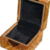 "Tiny Sq Sw-Lw Box Open<br />  The type of wood is listed on the bottom of the box from the center out. On this box the wood is ""Ziricote"" from South America, ""Pink Ivory"" from South Africa (a wood that is sacred to the Zulu tribe). ""Black Palm"" from Indonesia. (I cut this on an angle to give the black dots a different look) ""Lacewood"" from Australia is a wood that has a nice coppery sheen to it. Then ""Satinwood"" from Sri Lanka is used on the main part of the box. Satinwood has the most beautiful golden satiny luster to it.  <br />      On the bottom I signed it, listed the wood, and dated it.  After the date, the words ""Foot Cut"" let you know I made it on a foot powered table saw.<br /> <br />      This box is all made from very exotic wood.<br />  <br />      I lined the box with black velveteen.   <br /> <br />      This box may be prettier than a lot of the jewelry that could go in it."