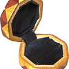 "Bp-Sw-Ph Ring Box<br />  This is my ""Black Palm, Satinwood and Purpleheart"" Ring Box.  It measures 3 1/2"" x 3 1/2"" and is 2"" high.  There are 72 pieces, both full and half size diamonds and triangles, on this box.  On the top there are 32 half-size pieces where it would normally have 16 full size pieces.  It is finished in its natural color with 1 coat of varnish brushed on and 3 coats of clear wiping varnish, rubbed in by hand.  The pieces are a bit over 3/16"" thick, glued onto a Baltic Birch base.  <br /> <br />   The type of wood is listed on the bottom of the box from the center out.  On this box is ""Black Palm"" from Indonesia. (I cut this wood at an angle to give the black dots a different look.) ""Satinwood"" from Sri Lanka is a wood with a beautiful golden satiny luster to it. Then ""Purpleheart"" from Central or South America which is a very bright purple wood. <br /> <br />    This box is all made from very exotic wood.  <br /> <br />   I made this box in 2004.  On the bottom I signed it, listed the wood, and dated it.  After the date, the words ""Foot Cut"" let you know I made it on a foot powered table saw.<br /> <br />   It is lined with black velveteen.  It has 3 ""ring pads"" on the bottom forming 2 slots about 2 ½"" long, for rings."