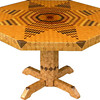 "Table Lg Flickering Star Oak 1<br />  I call this my ""Large Flickering Lone Star"" Oak table. The pattern on this table is the ""Lone Star"" quilt pattern. The flickering part comes because I alternated light and dark wood, which gives it the illusion of movement. You can sometimes have a light headed feeling when you see it; it plays with your eyes. The table stands 30"" tall and is 47"" wide. There are over 6000 pieces on the entire table. The pieces are used over the edge and onto the pedestal and feet of the table. The table is finished in its natural color with 6 or 8 coats of varnish. After the varnish hardens for at least a month, I level it and buff it to a high shine. The pieces are a bit over 3/16"" thick, glued onto a Baltic Birch base, so they hold up much better than a thin veneer.<br />      The type of wood is listed on the bottom of the table from the center out. (1) ""Redwood Burl"" from California, (2) ""Smoke Tree"" from Missouri, (3) ""Tulipwood"" from Brazil, (4) ""Sumac"" from upstate New York,(5)""Zaracote"" from Mexico, (6) ""Crab Apple"" from US, (7) ""Bloodwood"" from South America, (8) ""Birch"" from US, (9) ""Shedua"" from Africa, (10) ""Ash"" from Missouri, (11) ""Purpleheart"" from Central or South America, (12) ""Satinwood"" from Brazil, (13) ""Lacewood"" from Australia, (14) ""Cottonwood"" from Missouri, (15) Boire"" from Africa, (16) ""Poplar"" from US, (17) ""Wenge"" from West Africa, (18) ""Hackberry"" from Missouri, (19)""Bubinga"" from Africa, (20) ""Tree Of Heaven"" from US but native to China, (21) ""Mahogany"" from Central America, (22) ""Maple"" from Eastern US, (23) ""Walnut"" and (24) ""Oak"" from Missouri.<br />     I made this table in 2000 and got it finished in 2001. It is large table number 18. On the bottom I signed it, listed the wood, dated it and put the number of the table. As with everything I make I can find flaws in each item, be it box or table. It's not perfect but you'll look a long time to find a prettier table."
