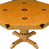 "Table Lg ASC Oak 1<br />  I call this my ""Large Oak ASC"" table. The pattern on this table is the ""Aunt Sukeys Choice"" quilt pattern. It is the same pattern that is on the ""Oak Square Box"". As you can see on the square box, 2 diamonds are on each corner. They form a star, when 4 of the patterns come together, as shows in the ""Close-up"". Out from the center I have 4 half size patterns that are the same size that is on my ""Oak Tiny Square Box"", twice as many pieces as would normally be in that area. The table stands 30"" tall and is 48"" wide. There are over 6000 pieces on the entire table. The pieces are used over the edge and onto the pedestal and feet of the table. The table is finished in its natural color with 6 or 8 coats of varnish. After the varnish hardens for at least a month, I level it and buff it to a high shine. The pieces are a bit over 3/16"" thick, glued onto a Baltic Birch base, so they hold up much better than a thin veneer.<br />      The type of wood is listed on the bottom of the table from the center out. On this table the wood is ""Satinwood"" from South America, ""Walnut"" from Missouri, ""Wenge"" from West Africa, ""Purpleheart"" from Central or South America, and ""Oak"" from Missouri.  <br />     I made this table in 2000 and got it finished in 2001. It is large table number 17. On the bottom I signed it, listed the wood, dated it and put the number of the table. As with everything I make I can find flaws in each item, be it box or table. It's not perfect but you'll look a long time to find a prettier table."