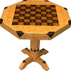 "Table CB Med Oak 1<br />   I call this my ""Medium size Oak"" chess table. This table stands 30"" tall and is 32"" wide. Each square is 2 ½"", the whole board is just over 20"". There are over 3200 pieces on the entire table. The pieces are used over the edge and onto the pedestal and feet of the table. Each square is made using 4 diamonds and 6 triangles. It gives a chess or checker board a completely different look. It has two drawers, one on each side. The drawers have magnetic catches on the back of them, so they don't slide out on their own. I use wood dowels to help hold the drawers together. The table is finished in its natural color with 6 or 8 coats of varnish. After the varnish hardens for at least a month, I level it and buff it to a high shine. The pieces are a bit over 3/16"" thick, glued onto a Baltic Birch base, so they hold up much better than a thin veneer.<br />    The type of wood is listed on the bottom of the table. The dark square has ""Walnut"" from Missouri in the middle and ""Wenge"" from West Africa on the outside. The light square has ""Philippine Mahogany"" in the middle and ""Lacewood"" from Australia on the outside. And ""Oak"" from Missouri along with ""Wenge"" is used on the rest of the table.<br />    The pieces in each square are placed so that two diamonds are on opposite corners. Then when you look at those corners where 4 squares meet a star is formed at that corner all over the table. You can see it easiest on the Oak, itself, here in the ""Close-up"" picture.<br />    I made this table in 2000 and got it finished in 2001. It is medium table number 8. On the bottom I signed it, listed the wood, dated it and put the number of the table. As with everything I make I can find flaws in each item, be it box or table. It's not perfect but you'll look a long time to find a prettier table. <br />  <br />    I lined the bottom of the drawers with black velveteen."