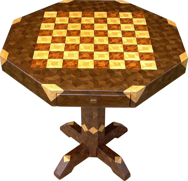 "Table CB Med Wal 1<br />   I call this my ""Medium size Walnut"" chess table. This table stands 30"" tall and is 32"" wide. Each square is 2 ½"", the whole board is just over 20"". There are over 3200 pieces on the entire table. The pieces are used over the edge and onto the pedestal and feet of the table. Each square is made using 4 diamonds and 6 triangles. It gives a chess or checker board a completely different look. It has two drawers, one on each side. The drawers have magnetic catches on the back of them, so they don't slide out on their own. I use wood dowels to help hold the drawers together. The table is finished in its natural color with 6 or 8 coats of varnish. After the varnish hardens for at least a month, I level it and buff it to a high shine. The pieces are a bit over 3/16"" thick, glued onto a Baltic Birch base, so they hold up much better than a thin veneer.<br />    The type of wood is listed on the bottom of the table. The dark square has ""Lacewood"" from Australia in the middle and ""Bubinga"" from Africa on the outside. The light square has ""Oak"" in the middle and ""Hackberry"" on the outside both from Missouri. And then ""Hackberry"" and ""Walnut"" from Missouri are used on the rest of the table.<br />    The pieces in each square are placed so that two diamonds are on opposite corners. Then when you look at those corners where 4 squares meet a star is formed at that corner all over the table. You can see it easiest on the Chess Board, itself, here on the ""Close-up"" picture.<br />     I made this table in 2000 and got it finished in 2001. It is medium table number 7. On the bottom I signed it, listed the wood, dated it and put the number of the table. As with everything I make I can find flaws in each item, be it box or table. It's not perfect but you'll look a long time to find a prettier table. <br />  <br />    I lined the bottom of the drawers with black velveteen."