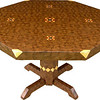"Table Lg ASC Wal 1<br />   I call this my ""Large Walnut ASC"" table. The pattern on this table is the ""Aunt Sukeys Choice"" quilt pattern. It is the same pattern that is on the ""Black Center Square Box"". As you can see on the square box, 2 diamonds are on each corner. They form a star when 4 of the patterns come together as shows in the ""Close-up"". Out from the center I have 4 half size patterns that are the same size that is on my ""Black Center Tiny Square Box"", twice as many pieces as would normally be in that area. The table stands 30"" tall and is 48"" wide. There are over 6000 pieces on the entire table. The pieces are used over the edge and onto the pedestal and feet of the table. The table is finished in its natural color with 6 or 8 coats of varnish. After the varnish hardens for at least a month, I level it and buff it to a high shine. The pieces are a bit over 3/16"" thick, glued onto a Baltic Birch base, so they hold up much better than a thin veneer.<br />      The type of wood is listed on the bottom from the center out. On this table the wood is ""Wenge"" from West Africa, ""Hackberry"" from Missouri, ""Purpleheart"" from Central or South America, ""Satinwood"" from South America, and ""Walnut"" from Missouri.<br />     I made this table in 2000 and got it finished in 2001. It is large table number 13. On the bottom I signed it, listed the wood, dated it and put the number of the table. The words ""Foot Cut"" lets you know I made it on a ""Foot Powered"" table saw.  As with everything I make I can find flaws in each item, be it box or table. It's not perfect but you'll look a long time to find a prettier table."