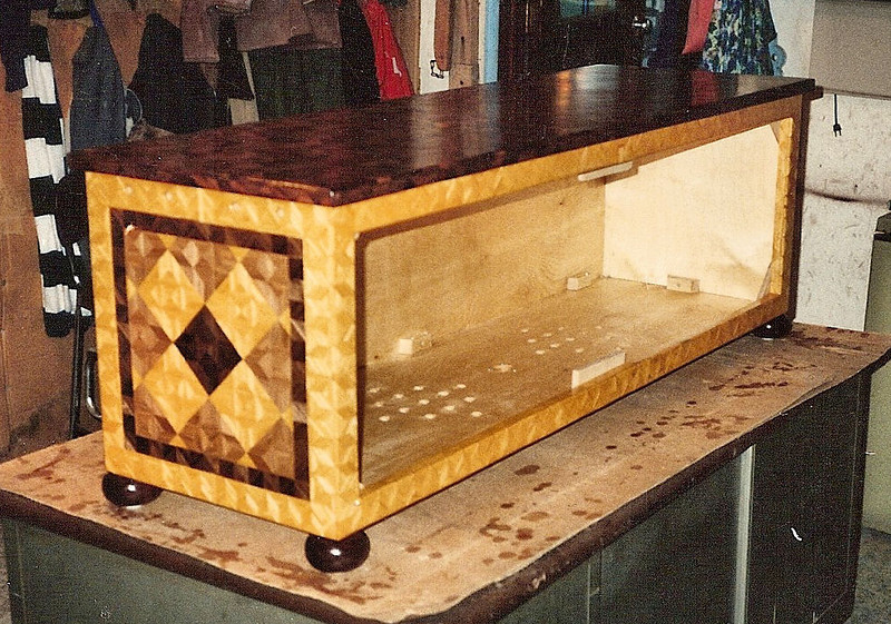 """Entertainment Center<br /> In 1992 I made this for a couple to set at the foot of there bed  and hold a TV, VCR and a couple speakers, It was around 4 ½ feet long and maybe 20"""" square. I was pleased with how it turned out."""