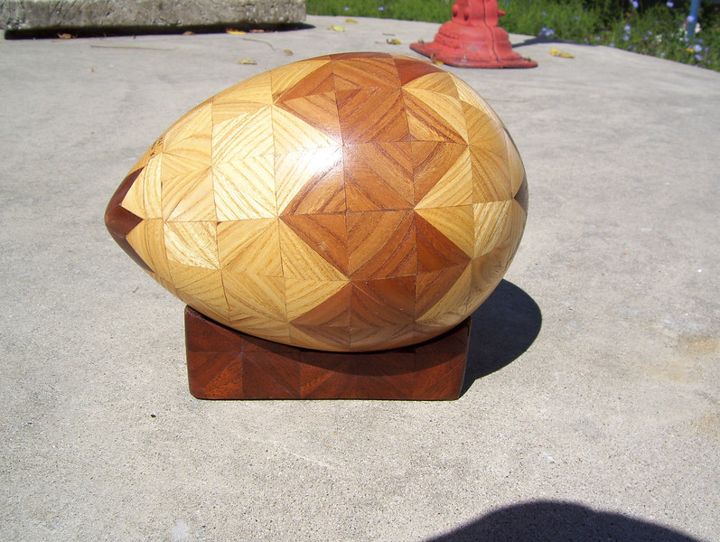 "Egg, 7 1/2"" Long x 5 1/2"" Tall<br /> In 1987 I made 2 or 3 eggs, about 7 ½"" long x 5 ½"" tall, but I quickly saw I wanted the edges of things round, not the whole thing. On my boxes, lazy susans, tables and all, I round the edges; it has lot more pleasing feel in your hand than a square edge. I always figured that was why God made women more rounded, rather than with square edges."