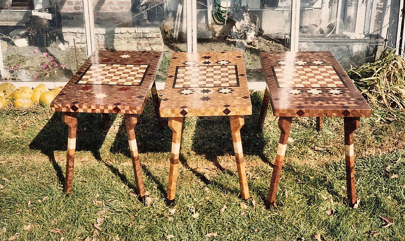 Rectangle Chess Tables<br /> These are the three rectangle tables that I made. Could be a much better picture.<br /> Two Walnut tables and a Cherry table.