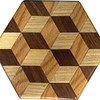 "Tumbling Block Trivet 2<br />   This is a ""Tumbling Block"" quilt pattern trivet. It is made using diamonds and triangles from different kinds of wood, all in their natural colors. There are 30 pieces on this block, 24 diamonds and 6 triangles, all full size. There are as many stars as blocks. At the side of each diamond is the middle of a block. At the point of each diamond is the middle of a star with 6 points. It measures 4 ½"" across. To finish them, I use 5 or 6 coats of a clear wiping varnish, rubbed in by hand.<br />  <br />   The type of wood is listed on the bottom from the center out. On this quilt block the wood is ""Hackberry"", ""Oak"", and ""Walnut"" from Missouri.<br />  <br />    On the bottom I signed it, listed the wood, and dated it.  After the date, the words ""Foot Cut"" let you know I made it on a foot powered table saw.<br /> <br />   The five pictures show the different look the one trivet can have as you lay it down different ways."