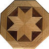 "Oak and Walnut Trivet<br />   This is a variation of a ""Rolling Star"" quilt block trivet or coaster. If used as a trivet I would not take a pan right off the stove and set it on it. Pour the contents into a dish and then set the dish on the trivet. It can withstand some water but it would be best not to let water stand on it very long. It is made using diamonds and triangles from different kinds of wood, all in their natural colors. There are 32 pieces on this block, 16 diamonds and 16 triangles, all full size. It measures 5"" across. To finish them, I use 5 or 6 coats of a clear wiping varnish, rubbed in by hand. <br /> <br />   The type of wood is listed on the bottom from the center out. On this quilt block the wood is ""Oak and ""Walnut"" from Missouri.<br /> <br />    On the bottom I signed it, listed the wood, and dated it.  After the date, the words ""Foot Cut"" let you know I made it on a foot powered table saw."
