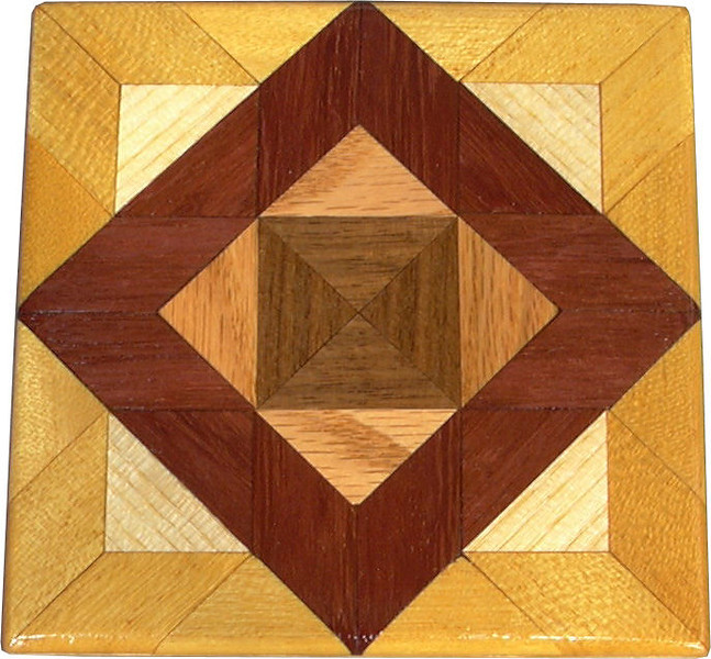 """Bright Aunt Sukeys Choice Quilt Block<br />  This is a """"Bright"""" """"Aunt Sukeys Choice"""" quilt block. It is made using diamonds and triangles from different kinds of wood, all in their natural colors. There are 40 pieces on this block, 16 diamonds and 24 triangles, all full size. It measures 5"""" square. To finish them, I use 3 or 4 coats of a clear wiping varnish, rubbed in by hand <br />   The type of wood is listed on the bottom. On this quilt block the wood is """"Walnut"""" and """"Oak"""" from Missouri, """"Purple heart from Central or South America, """"Hackberry"""" from Missouri and """"Satinwood"""" from Brazil. The """"Purple heart"""" and """"Satinwood"""" are very bright exotic wood."""