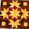 "Stars & Cubes Quilt Block<br /> This is a ""Stars and Cubes"" quilt block. It is made using diamonds and triangles from different kinds of wood, all in their natural colors. There are 108 pieces on this block, 48 diamonds and 60 triangles, all full size. It measures 8 ½"" square. To finish them, I use 5 or 6 coats of a clear wiping varnish, rubbed in by hand <br /> <br /> The type of wood is listed on the bottom from the center out. On this quilt block the wood is ""Satinwood"" & ""Purpleheart"" from South Amrica and ""Walnut"" from Missouri.<br /> <br />  On the bottom I signed it, listed the wood, and dated it. After the date, the words ""Foot Cut"" let you know I made it on a foot powered table saw."