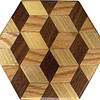 "Tumbling Block Trivet 3<br />   This is a ""Tumbling Block"" quilt pattern trivet. It is made using diamonds and triangles from different kinds of wood, all in their natural colors. There are 30 pieces on this block, 24 diamonds and 6 triangles, all full size. There are as many stars as blocks. At the side of each diamond is the middle of a block. At the point of each diamond is the middle of a star with 6 points. It measures 4 ½"" across. To finish them, I use 5 or 6 coats of a clear wiping varnish, rubbed in by hand.<br />  <br />   The type of wood is listed on the bottom from the center out. On this quilt block the wood is ""Hackberry"", ""Oak"", and ""Walnut"" from Missouri.<br />  <br />    On the bottom I signed it, listed the wood, and dated it.  After the date, the words ""Foot Cut"" let you know I made it on a foot powered table saw.<br /> <br />   The five pictures show the different look the one trivet can have as you lay it down different ways."