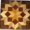 "Bright Carpenters Wheel Quilt Block<br /> This is a ""Carpenters Wheel"" quilt block. It is made using diamonds and triangles from different kinds of wood, all in their natural colors. I used some bright exotic wood on this one. There are 80 pieces on this block, 32 diamonds and 48 triangles, all full size. It measures 7"" square. To finish them, I use 3 or 4 coats of a clear wiping varnish, rubbed in by hand. <br />    The type of wood is listed on the bottom from the center out. On this quilt block the wood is ""Satinwood"" from Brazil, ""Purple Heart"" from Central or South America and ""Hackberry"", ""Oak"" and ""Walnut"" from Missouri."
