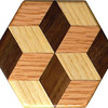 "Tiny Tumbling Block Pattern Weight 3<br />  This is a Tiny ""Tumbling Block"" quilt pattern. It works good as a pattern or paperweight. It is made using diamonds and triangles from different kinds of wood, all in their natural colors. There are 12 pieces on this block, all full size. There is 1 star and 6 half stars, and 6 blocks. At the side of each diamond is the middle of a block. At the point of each diamond is the middle of a star with 6 points. It measures 2 7/8"" across. To finish them, I use 5 or 6 coats of a clear wiping varnish, rubbed in by hand <br /> <br />    The three pictures show the different look the one pattern weight can have as you lay it down different ways.<br /> <br />   The type of wood is listed on the bottom from the center out. On this quilt block the wood is ""Hackberry"", ""Oak"", and ""Walnut"" from Missouri.<br />  <br />    On the bottom I signed it, listed the wood, and dated it.  After the date, the words ""Foot Cut"" let you know I made it on a foot powered table saw."