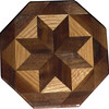 "Walnut and Oak Trivet<br />  This is a variation of a ""Rolling Star"" quilt block trivet or coaster. If used as a trivet I would not take a pan right off the stove and set it on it. Pour the contents into a dish and then set the dish on the trivet. It can withstand some water but it would be best not to let water stand on it very long. It is made using diamonds and triangles from different kinds of wood, all in their natural colors. There are 32 pieces on this block, 16 diamonds and 16 triangles, all full size. It measures 5"" across. To finish them, I use 5 or 6 coats of a clear wiping varnish, rubbed in by hand <br /> <br />   The type of wood is listed on the bottom from the center out. On this quilt block the wood is ""Walnut"" and ""Oak"" from Missouri.<br /> <br />    On the bottom I signed it, listed the wood, and dated it.  After the date, the words ""Foot Cut"" let you know I made it on a foot powered table saw."
