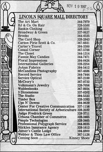 Mall directory, published Nov. 19, 1987.