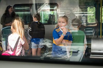 Girl shows her team colors. Aug 2019. Tipperary vs Kilkenny.