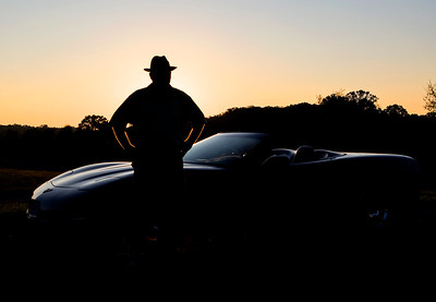 Silhouetted vette at sunset