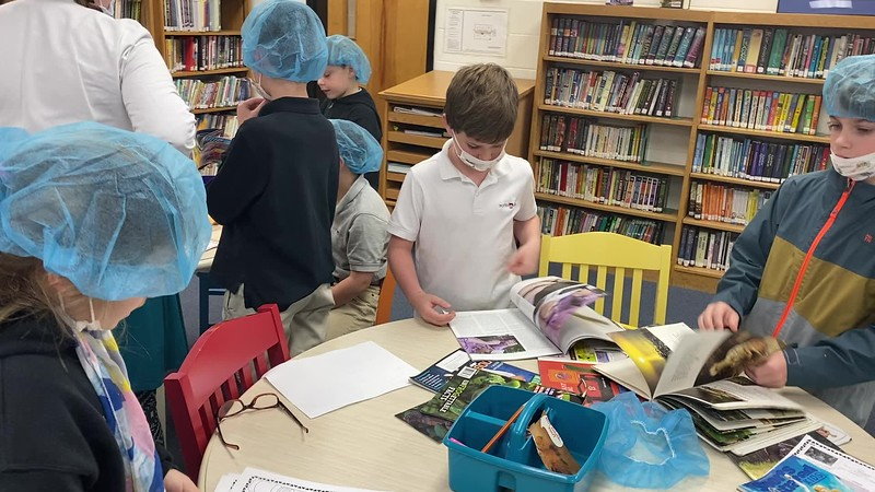 Text feature surgery in the library with Mrs Renton's reading class.