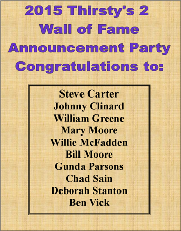 2015 Thirsty's 2 Wall of Fame Announcement Party