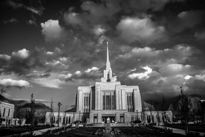 Ogden Temple Black and White Mountain View