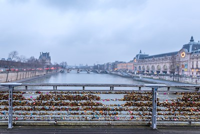 The last love lock bridge over the Seine