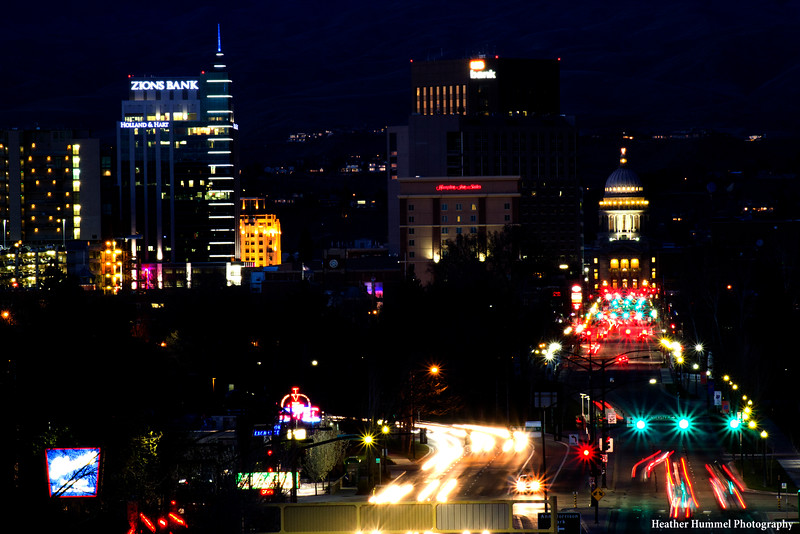Downtown Boise and the State Capitol Building at Night