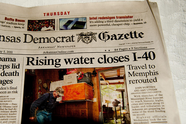 front page the day after we crossed the Mississippi river from Memphis to Hot Springs, Ark. The river covered all but one lane of traffic as we drove through. The road was closed an hour later.