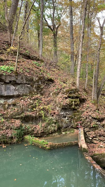 Water chute, waterfall, and stream at Spring Mill State Park