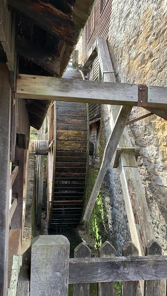 The Mill wheel spinning at Spring Mill State Park in Indiana