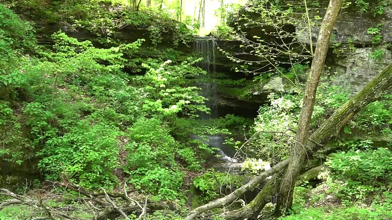 Waterfall at Portland Arch Nature Preserve in Fountain County Indiana