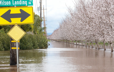 Flooding has left Wilson Landing Road inaccesible to through traffic on Wednesday, February 27. (Matt Bates -- Enterprise Record)