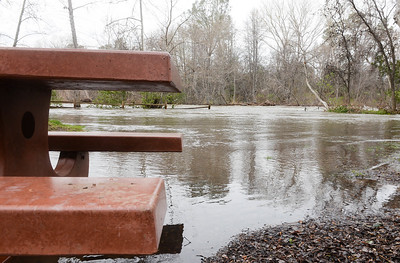 Flooding swallows up the Five Mile recreation area in Bidwell Park on  Wednesday, February 27. (Matt Bates -- Enterprise Record)