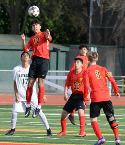 Chico's Juan Tejada goes up for a header during the Panthers  playoff game against Leigh on Thursday, February 28 in Chico.  (Matt Bates -- Enterprise-Record)