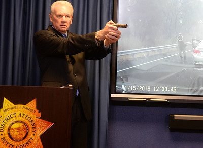 Butte County District Attorney Michael Ramsey shows the pipe GD Hendrix wieled at officers during a press conference in Oroville on Wednesday, March 20. (Matt Bates -- Enterprise-Record)