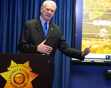 Butte County District Attorney Michael Ramsey speaks about the officer involved shooting of GD Hendrix at a press conference in Oroville on Wednesday, March 20. (Matt Bates -- Enterprise-Record)