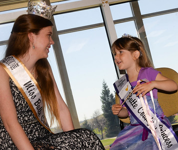 Iris Kennedy speaks with Miss Butte County Kirstin-Grace Baker during Princess Day at Butte College on Saturday, March 16. (Matt Bates -- Enterprise-Record)