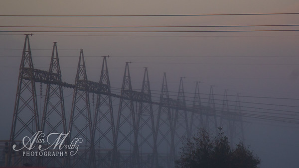 morning fog at the sub-station
