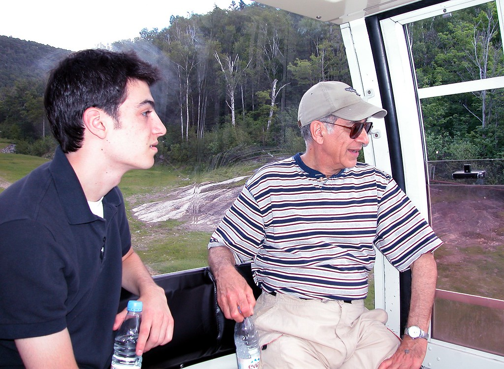 Lonny and Uncle Norm on Gondola in Tremblant