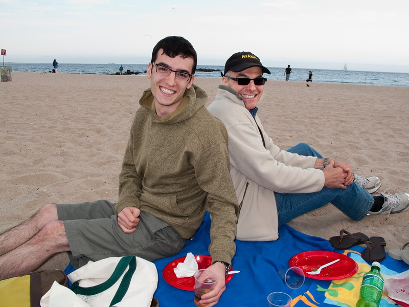 Lonny and Dad at Coney Island Beach