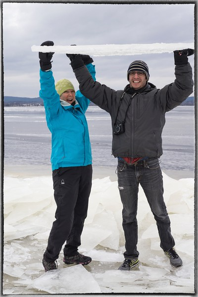 Mom and Lonny on Frozen Ottawa River