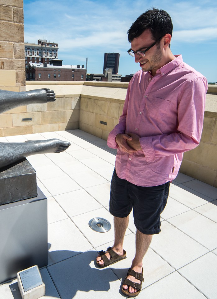 Inspection of Sculpture's Feet in New Haven