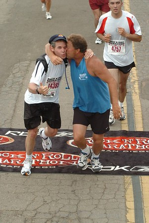 San Diego marathon.  Derek meeting me at the finish.