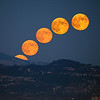 5-shot composite of the harvest moon rising from behind Mt. Diablo.