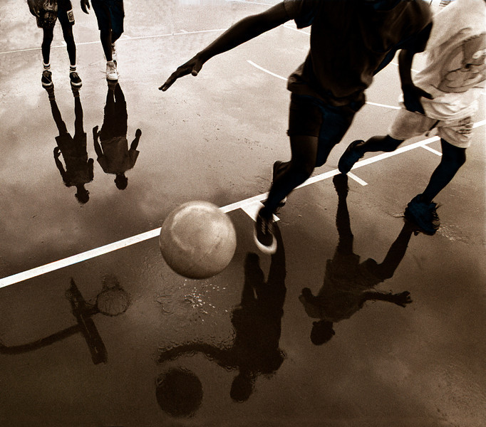 Rainy day game of basketball.