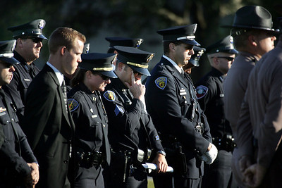 Police officers are emotionally moved as they gather for the funeral of Hollywood police officer Alex Del Rio. Del Rio was killed in the line of duty when he lost control of his Ford Crown Victoria and crashed into a tree. The vehicle burst into flames, killing him. Del Rio had been an officer for nine years.