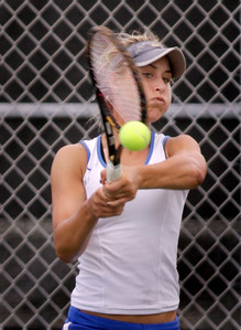 Kali Donner of Cypress Bay.  Douglas vs. Cypress Bay in girls' tennis.  Monarch High,