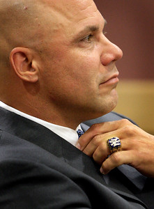 Yankees ball player Jim Leyritz  in Judge Gold's courtroom. Leyritz is accused of DUI Manslaughter after being involved in a fatal car accident.    J. David Bogenschutz is his attorney. The Judge found that there was no issue because the machine may have malfunctioned.  Here Jim is seen wearing his World Series Ring.