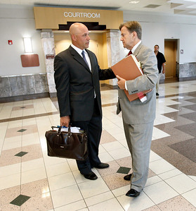 Yankees ball player Jim Leyritz  in Judge Gold's courtroom. Leyritz is accused of DUI Manslaughter after being involved in a fatal car accident.    J. David Bogenschutz is his attorney.  Here Jim talks to attorney outside the courtroom after the hearing.  The Judge found that there was no issue because the machine may have malfunctioned.