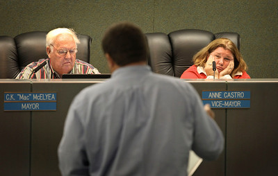 "C.K. ""Mac"" McKlyea, Mayor, and Anne Castro, Vice-Mayor of Dania Beach, are feeling very tired at the end of a long budget meeting."